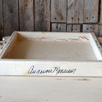 Ivory French Shabby Chic Wood Serving Tray with Roses