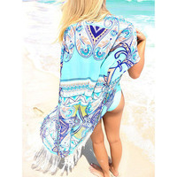 New Bright Blue Chiffon Beach Cover Up with Tassel Fringe One Size