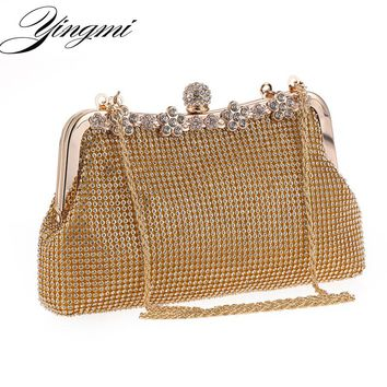 2017 New Arrival Full Rhinestones Women Evening Bags Metal Handle Chain Shoulder Small Purse Bags Diamonds Luxurious Evening Bag