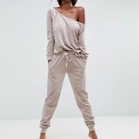 ASOS LOUNGE Velour Off Shoulder Sweat in Nude at asos.com