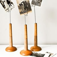 Vintage Wood Spool Photo Holder Display