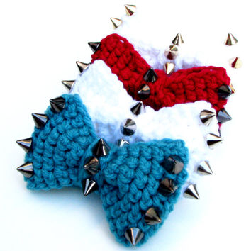 Spiked Crocheted Bow - Size SMALL - Hair Bow, Headband, Bow Tie, Adorableness