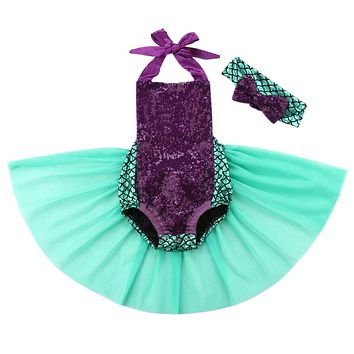 2Pcs/Set! 2016 Baby Girls Sequins Tutu Summer Mermaid Baby Rompers One-Pieces Multi Color Toddler Baby Clothing