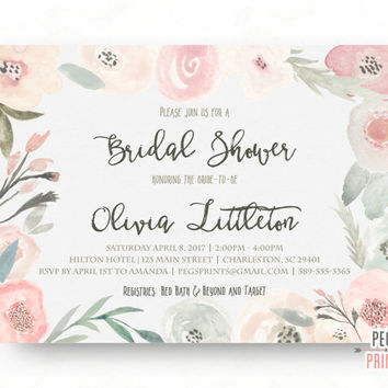 Spring Bridal Shower Invitation - Floral Bridal Shower Invitation - Printable Bridal Shower Invitation - Bridal Invitations - Peony Pink