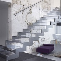 Straight stainless steel Open staircase Brera Collection by Executive