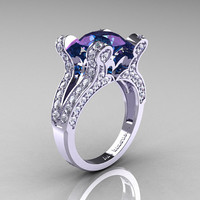 French Vintage 14K White Gold 3.0 CT Russian Alexandrite Diamond Pisces Wedding Ring Engagement Ring Y228-14KWGDAL