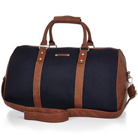 River Island MensNavy brown trim holdall