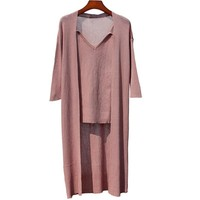 Cardigans Feminino 2017 Two Piece Set Camis+Cardigan V Neck Womens Cardigan Long Sleeve Loose Solid 2 Piece Outfits For Women