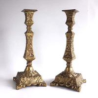 Vintage Baroque Brass Candlestick Pair, Heavy Ornate French Brass Candle Holders, Wedding Candlesticks, Centerpiece Decor, Wedding Gift