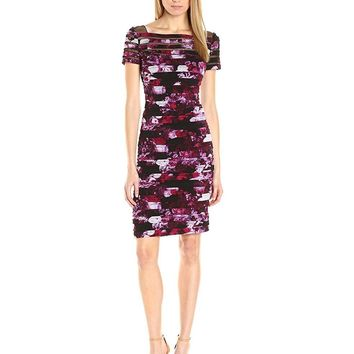 Adrianna Papell - AP1D100586 Shutter Pleat Floral Sheath Dress