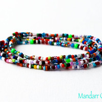 Seed Bead Stretch Bracelets Set of Five, Multicolor Assorted Beads, Stretchy Jewelry, Gifts for Her