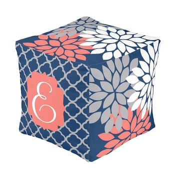 OTTOMAN Pouf, Coral Gray Navy Nursery Decor, Baby Blanket, Zipper Throw Pillow, Baby Monogram, Matching Nursery Bedding Set, Nursery Rug