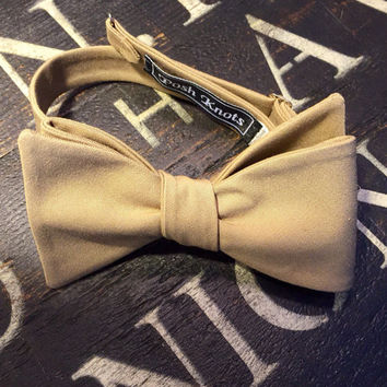 Jace| Khaki Bow Tie| Paisley Pocket Square Included