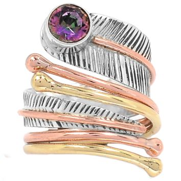 Mystic Topaz Three Tone Sterling Silver Adjustable Wrap Ring