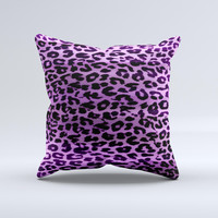 Vivid Purple Leopard Print ink-Fuzed Decorative Throw Pillow