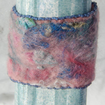 Bracelet: pink and blue nuno felted silk and merino beaded cuff wrist warmer with adjustable brass clasp. Boho style, casual art jewelry