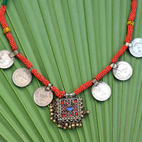 Vintage Afghan Tribal Kuchi Pendant Necklace Coins Bohemian Boho Gypsy Jewelry