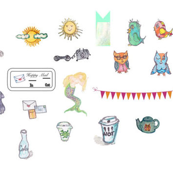 Watercolor Stickers Variety of Images for Planner Mermaid Weather Banner Owls Pets Hand-painted Original Art Stickers Scrapbooking Planners
