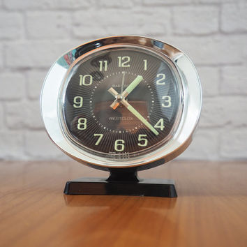 Westclox Baby Ben Wind Up Alarm Clock Black and Chrome / Midcentury Modern Home Decor