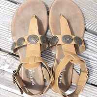 Palm Trees And Paradise Embellished Ankle Strap Flat Camel Sandals
