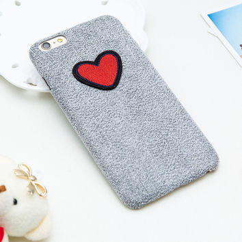 Fashion Warm Fuzzy Phone Cases For iphone 7 6 6s Plus Funda Cute DIY Case Loving Heart Pattern Back Cover Soft TPU Shell Coque