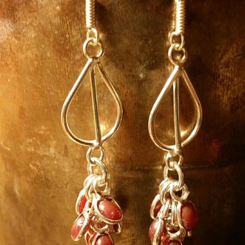INVENTORY CLEARANCE SALE Cherry Ruby Chandelier Earrings Tribal Ethnic Gemstone  .925 Sterling  Silver Indian Boho Gypsy Holiday