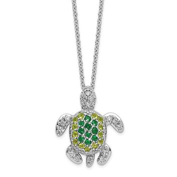 Cheryl M Sterling Silver Sim. Peridot & Emerald Green Turtle Necklace