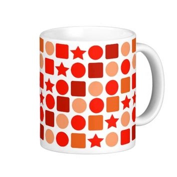 Orange-flavored Geometrics on Classic White Mug