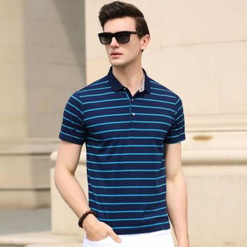 Summer Men Stripes Cotton Short Sleeve Men's Fashion Tops T-shirts [6544026243]