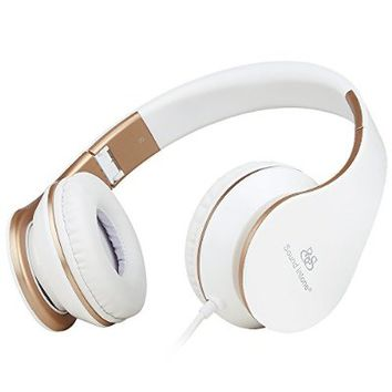 Headphones, Sound Intone I65 Headphones with Microphone and Volume Control for Travel, Work, Sport , Foldable Headset for Iphone and Android Devices (White/gold)