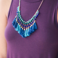 Beaded Fringe Necklace - Blue