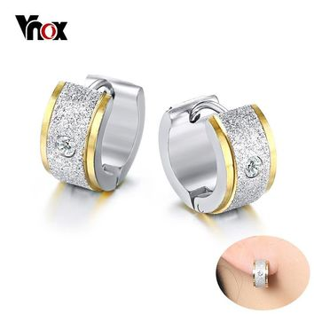 Vnox Women's Bling CZ Stone Hoop Earrings High Quality Stainless Steel Gold Silver Color Earring Girl Female Gifts Jewelry