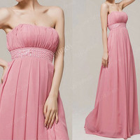 pink bridesmaid dress, long bridesmaid dresses, cheap bridesmaid dress, pink prom dress, evening dress,  BE034