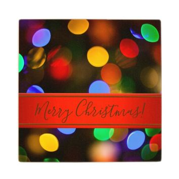 Multicolored Christmas lights. Add text or name. Wood Coaster