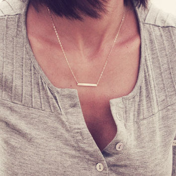 Skinny Bar Necklace / Straight Bar Necklace / Dainty Layered Necklace / Custom Bar Necklace / Gold, Rose Gold or Silver