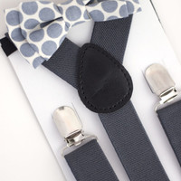 SUSPENDER & BOWTIE SET.  Newborn - Adult sizes. Dark Grey Suspenders. Grey polka dot bowtie.
