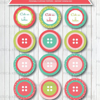 Printable Cupcake Toppers, Cute as A Button,Strawberry, Party Decorations, DIY, Girl, Favors, Birthday, Baby Shower, INSTANT DOWNLOAD