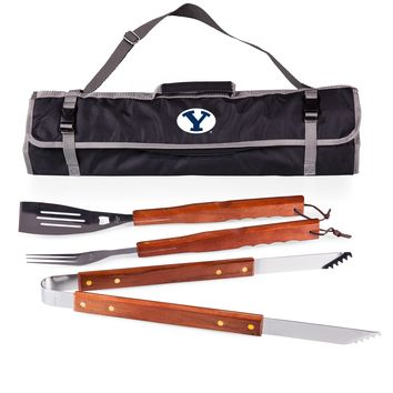 BYU Cougars 3-Pc BBQ Tote & Tools Set-Black Digital Print