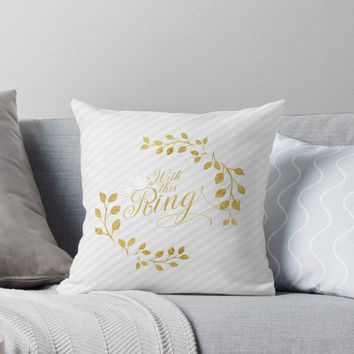 'Faux Gold Leaf Wedding Collection' Throw Pillow by Doreen Erhardt