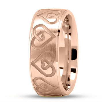 Wedding Band - Engraved Double Heart Wedding Ring in Rose Gold