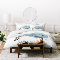 Morgan Kendall White Horse Duvet Cover