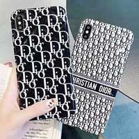 DIOR New fashion more letter print couple protective cover phone case