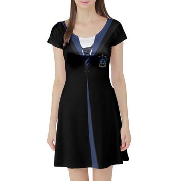 Harry Potter Ravenclaw Inspired Short Sleeve Skater Dress