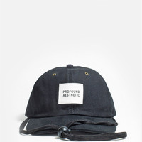Six Panel Camper Strapback Hat in Black
