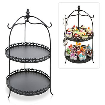 Vintage Style Black Metal 2 Round Tier Cupcake / Dessert / Pastry Serving Rack Display Stand with 3 Tong Holder Hooks - MyGift®