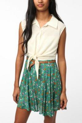 Reverse Silky Tie Front Floral Skirt Dress