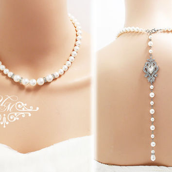 Wedding Jewelry Single Strand Swarovski Pearl Necklace Bridal Necklace Bridesmaids Necklace Backdrop Necklace Rhinestone Necklace - NIKI