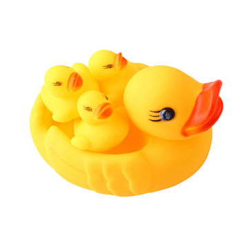 4pc/lot Bath Toys Shower Water Floating Squeaky Yellow Rubber Ducks Baby Toys Water Toys Brinquedos For Bathroom