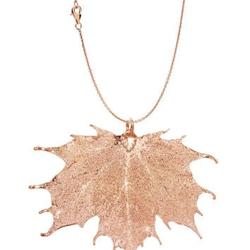 Real Leaf PENDANT with Chain Sugar Maple in Rose Gold Genuine Leaf Necklace