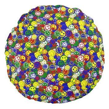 Primary Smiley Face Beads-BLUE-ROUND PILLOW